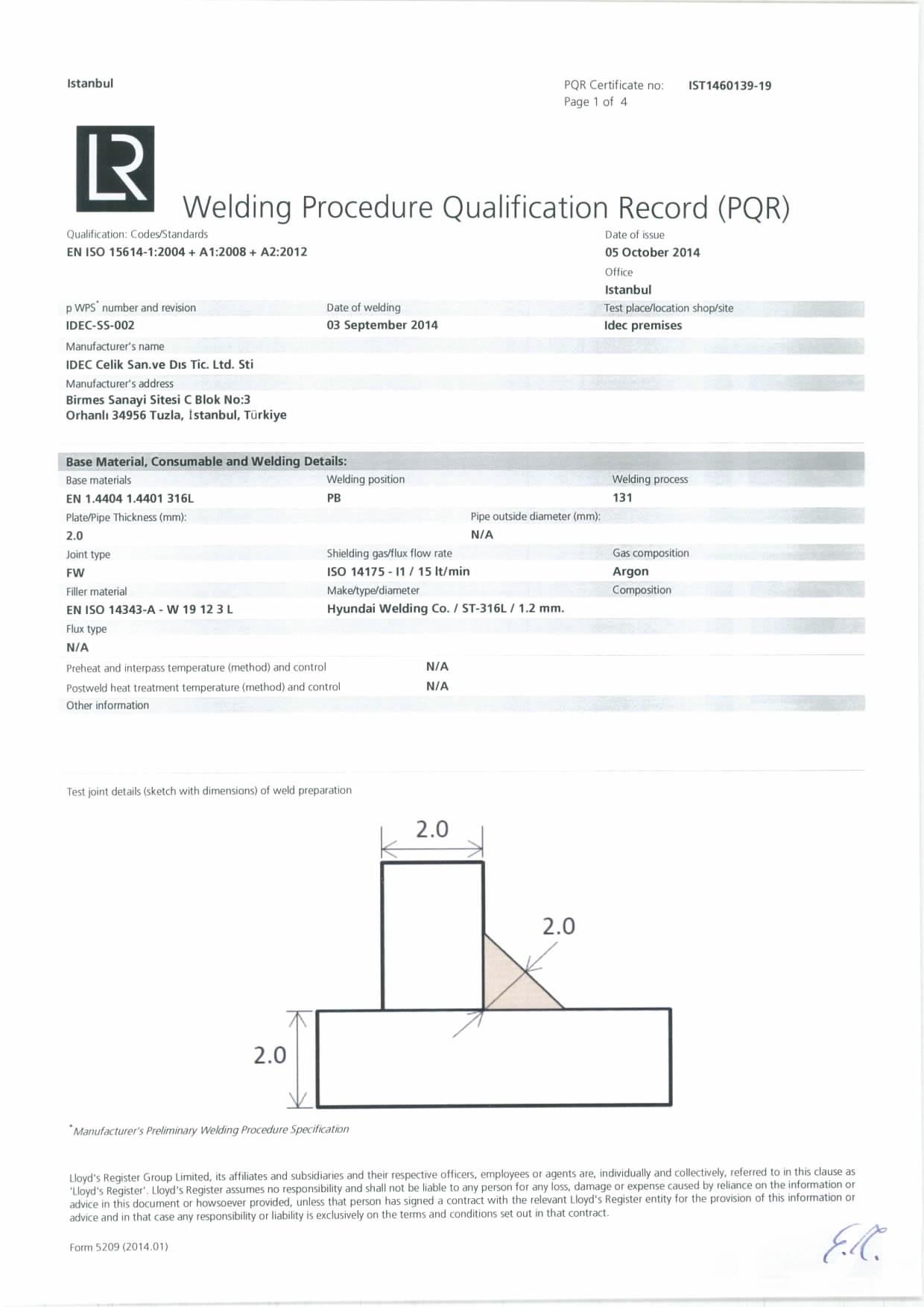 Idec Steel Industry Certificates Diagram Of Welding Process Pqr Ss Mig 2mm