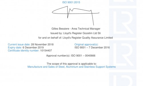 New ISO 9001:2015 Certificate